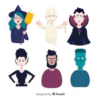 Coleção de personagens plana do dia das bruxas