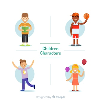 Coleção de personagens plana do dia das crianças