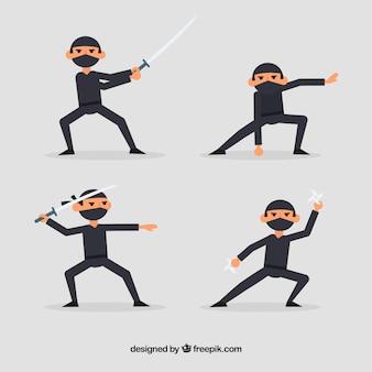 Coleção de personagens plana ninja de quatro
