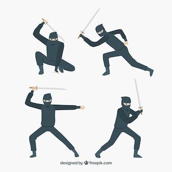 Coleção de personagens plana ninja em poses diferentes