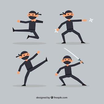 Coleção de personagens plana ninja