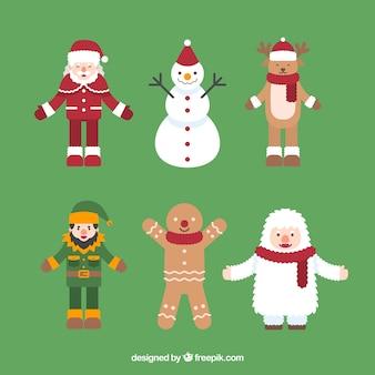Coleção de personagens típicos de natal