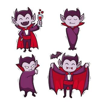 Coleção de personagens vampiros com design desenhado à mão
