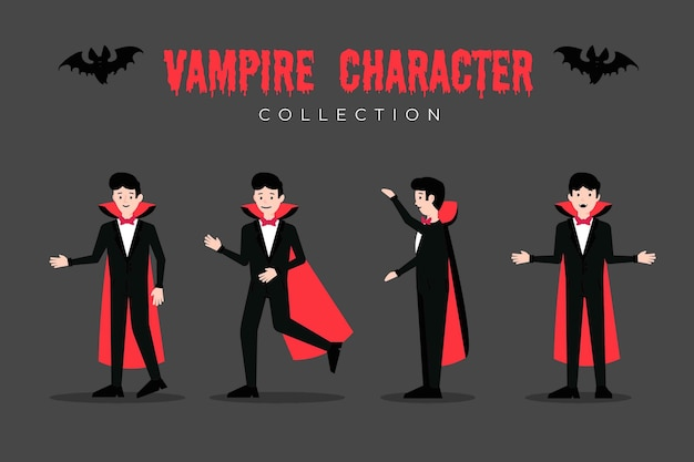 Coleção de personagens vampiros de design plano