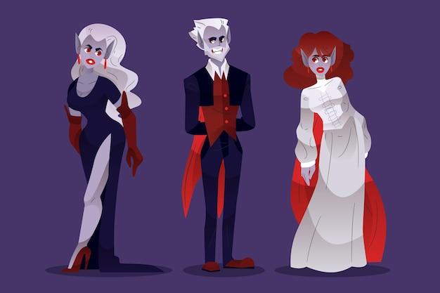 Coleção de personagens vampiros de halloween