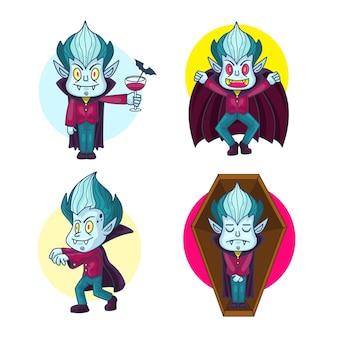 Coleção de personagens vampiros desenhados à mão