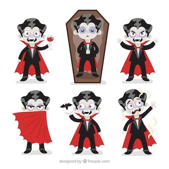 Coleção de personagens vampiros do dia das bruxas