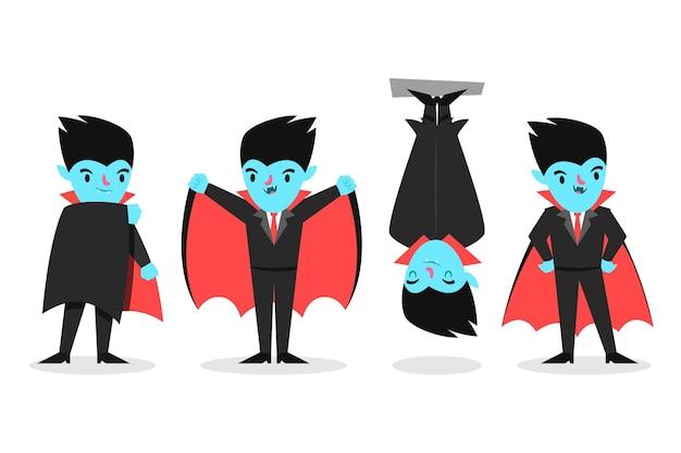 Coleção de personagens vampiros em design plano
