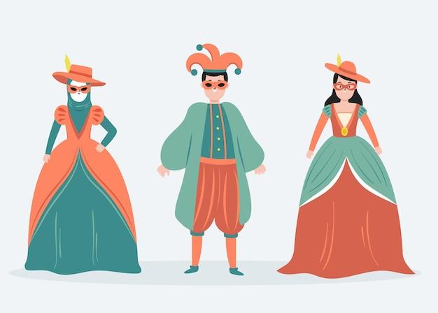 Coleção de personagens vestindo fantasias de carnaval italiano
