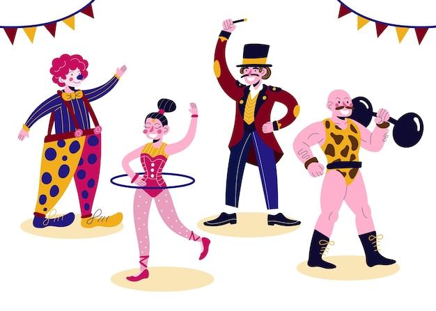 Coleção de personagens vestindo fantasias de carnaval