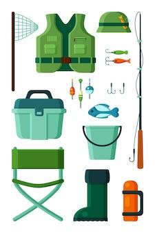 Coleção de pesca. equipamento para pescador hobby girando anzol
