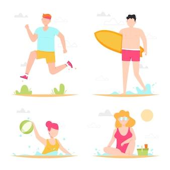 Coleção de pessoas atividades ao ar livre