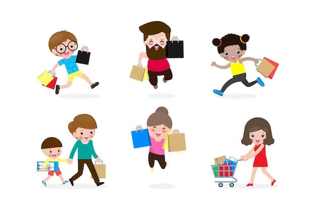 Coleção de pessoas carregando sacolas de compras com a compra, conjunto de homem e mulher participando da venda sazonal na loja, loja, personagens de desenhos animados isolados no fundo branco, plana