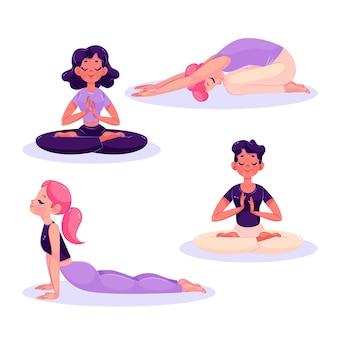 Coleção de pessoas com ilustração plana meditando