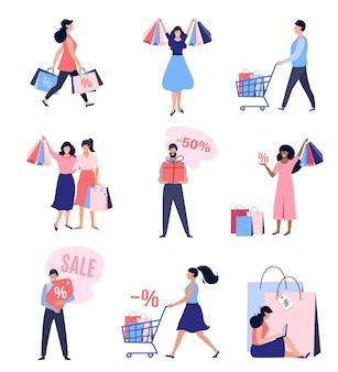 Coleção de pessoas com sacolas e carrinhos de compras. grande promoção, até 50% de desconto, banner publicitário, cartaz promocional. ilustração vetorial.
