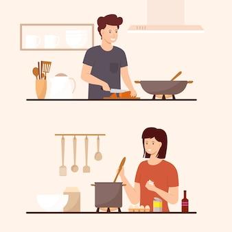Coleção de pessoas cozinhando em casa