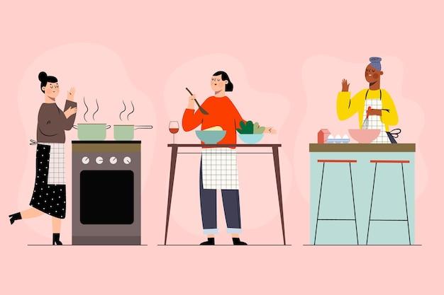 Coleção de pessoas cozinhando sua comida favorita