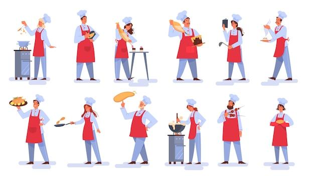 Coleção de pessoas de avental fazendo um prato saboroso