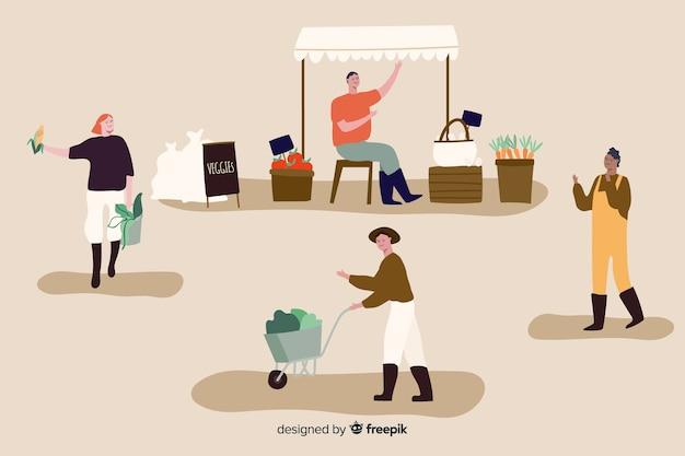 Coleção de pessoas de design plano trabalhando na agricultura