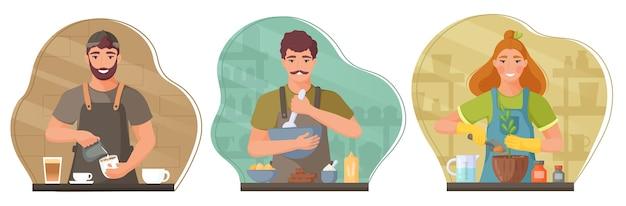 Coleção de pessoas de diferentes profissões. barista, confeiteiro, jardineiro. ilustração.