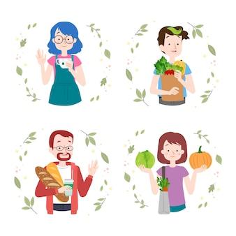 Coleção de pessoas de estilo de vida verde