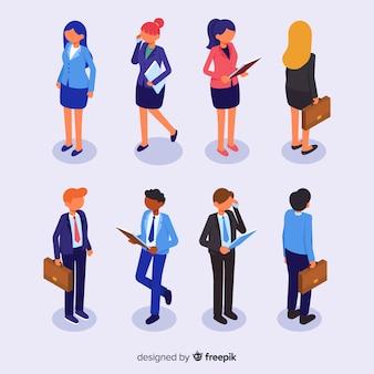 Coleção de pessoas de negócios isométricas