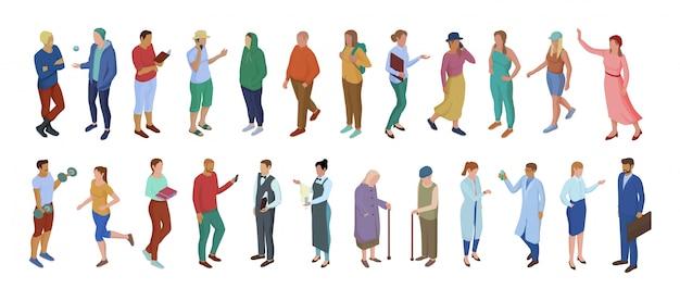 Coleção de pessoas de personagem de desenho diferente, isolado no branco
