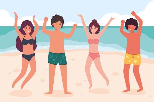 Coleção de pessoas de praia