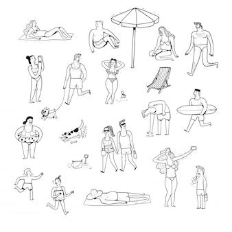 Coleção de pessoas desenhadas mão.