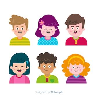 Coleção de pessoas diferentes dos desenhos animados