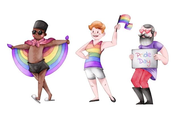 Coleção de pessoas do dia do orgulho desenhada à mão
