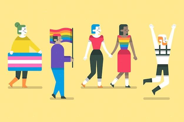 Coleção de pessoas do dia do orgulho