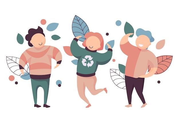 Coleção de pessoas e folhas de estilo de vida verde feliz