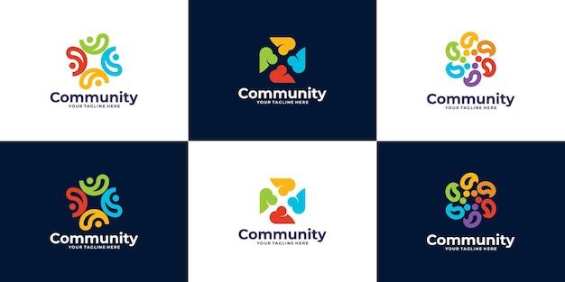 Coleção de pessoas e logotipo da comunidade para equipes ou grupos