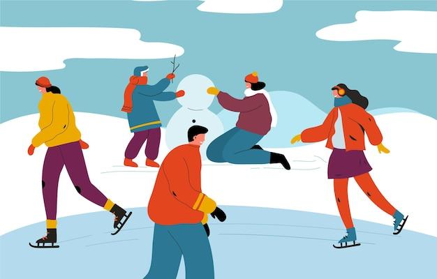 Coleção de pessoas fazendo atividades de inverno