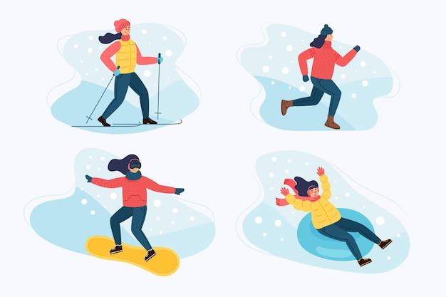 Coleção de pessoas fazendo diferentes atividades de inverno