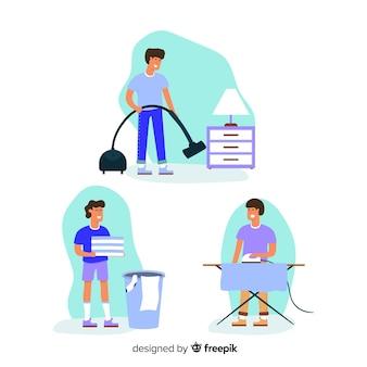 Coleção de pessoas fazendo trabalhos domésticos