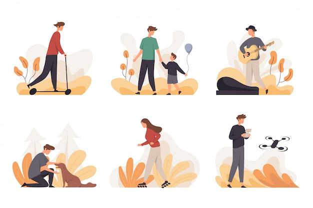 Coleção de pessoas fazendo várias atividades ao ar livre