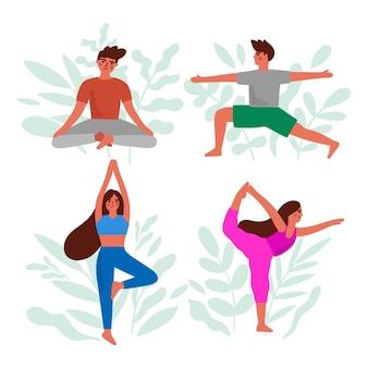 Coleção de pessoas fazendo yoga