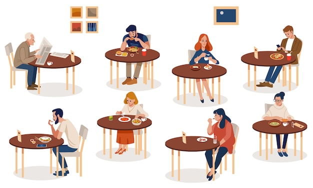 Coleção de pessoas fofas sentadas às mesas e comendo diferentes refeições deliciosas.