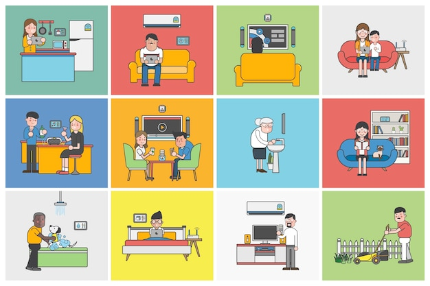 Coleção de pessoas ilustradas em várias situações diárias