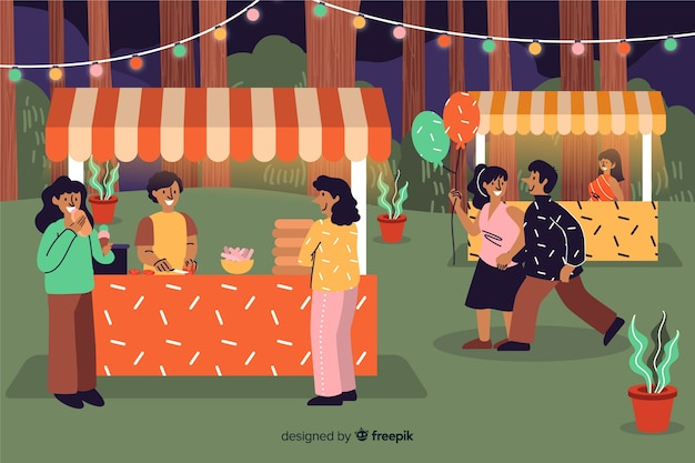 Coleção de pessoas na feira da noite
