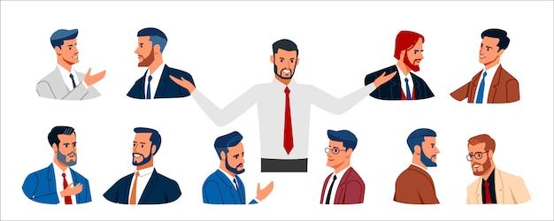 Coleção de pessoas negócio. conjunto de vários homens de negócios em roupas de negócios, de diferentes idades, expressando emoções positivas