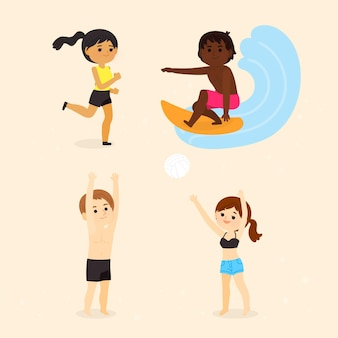 Coleção de pessoas praticando esportes de verão