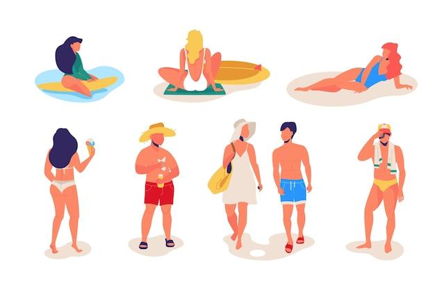 Coleção de pessoas relaxando na praia