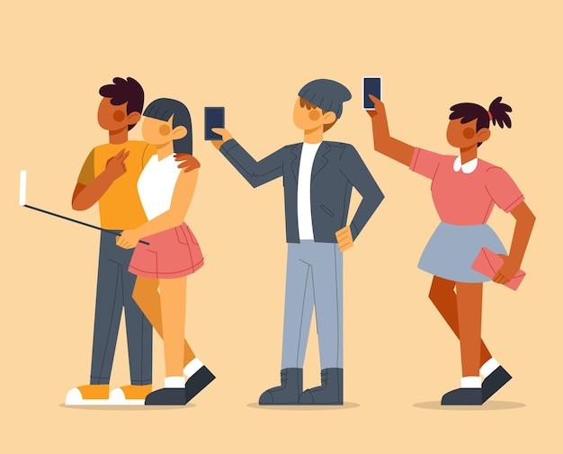 Coleção de pessoas tirando selfie com telefone