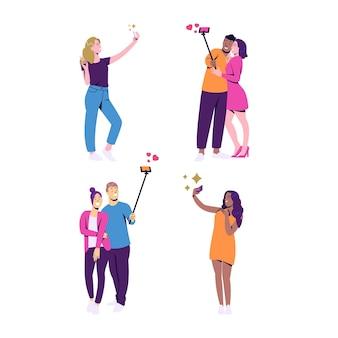 Coleção de pessoas tirando selfie