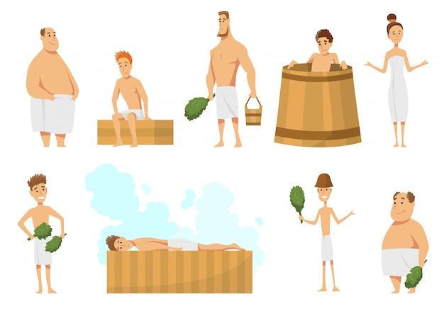Coleção de pessoas tomando banho na sauna ou banya cheia de vapor.