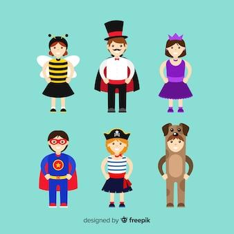 Coleção de pessoas vestidas de colorido