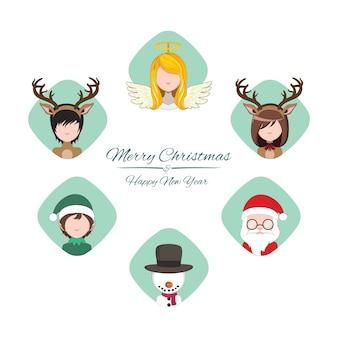 Coleção de pessoas vestidas de personagens de natal